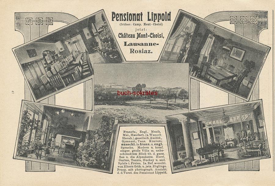 Werbe-Anzeige / Werbung/Reklame Pensionnat Schenker et Roy, Chateau Mont-Choisi - Lausanne-Rosiaz (DK09)