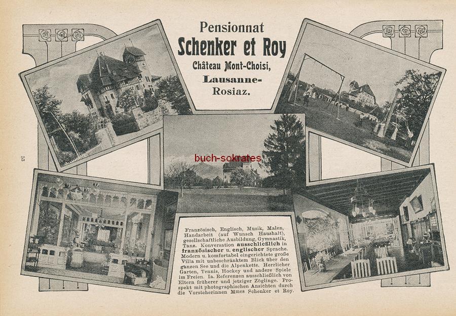 Werbe-Anzeige / Werbung/Reklame Pensionnat Schenker et Roy, Chateau Mont-Choisi - Lausanne-Rosiaz (DK15)