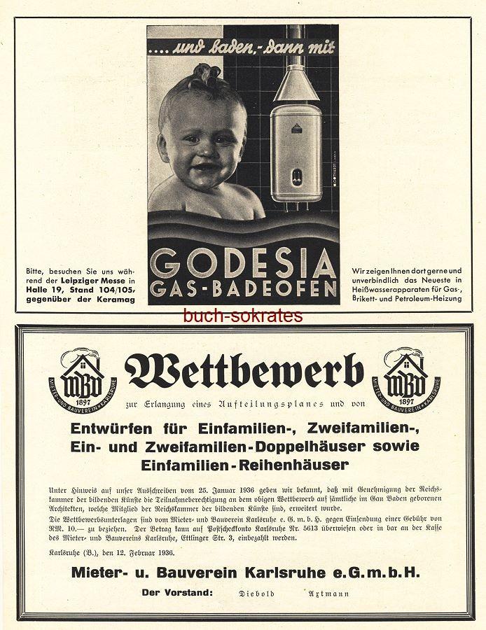 Werbe-Anzeige / Werbung/Reklame Godesia Gas-Badeofen und Wettbewerb MBV Mieter- und Bauverein Karlsruhe e.GmbH, Vorstand Diebold Axtmann (BG36/6)