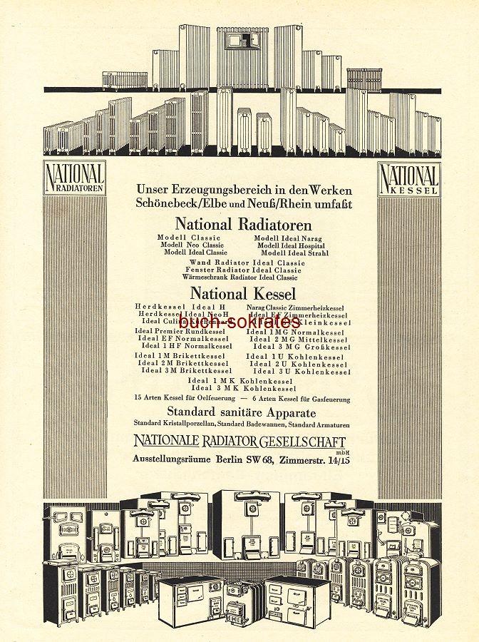 Werbe-Anzeige / Werbung/Reklame National-Radiatoren - Nationale Radiator Gesellschaft, Berlin, Zimmerstr. 14/15 (BG36/6)