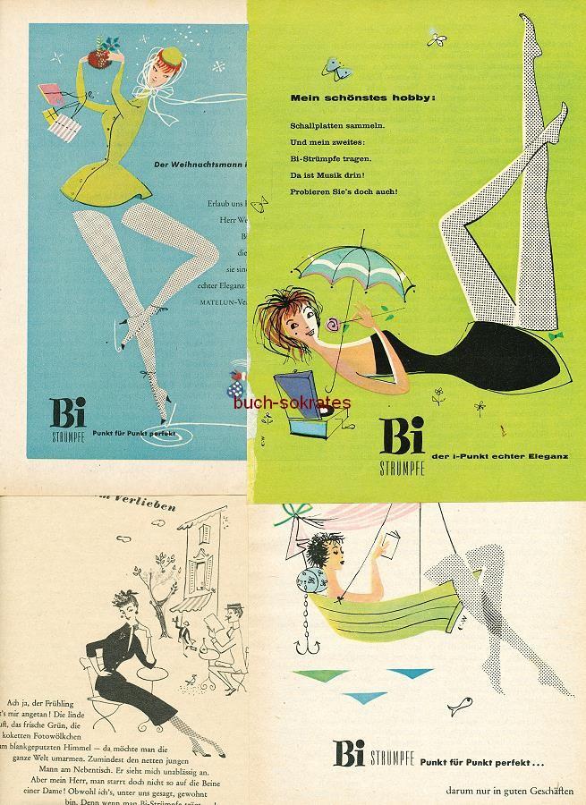 Werbe-Anzeige / Werbung/Reklame Konvolut Bi-Damen-Feinstrümpfe: