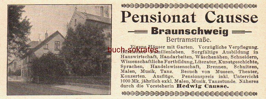 Werbe-Anzeige / Werbung/Reklame Pensionat Causse, Braunschweig, Bertramstraße - Vorsteherin Hedwig Causse (DK08)