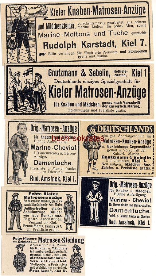 Werbe-Anzeige / Werbung/Reklame 7 x Matrosenanzug, Matrosenanzüge: Rudolph Karstadt, Kiel / Gnutzmann & Sebelin, Kiel / Rud. Amsinck, Kiel / Franz Maatz, Hamburg / Peter Nissen, Kiel (DW11/46/DW11/46/DW08/45/DW09-/DW08/46/DW09/29/DW13/47)