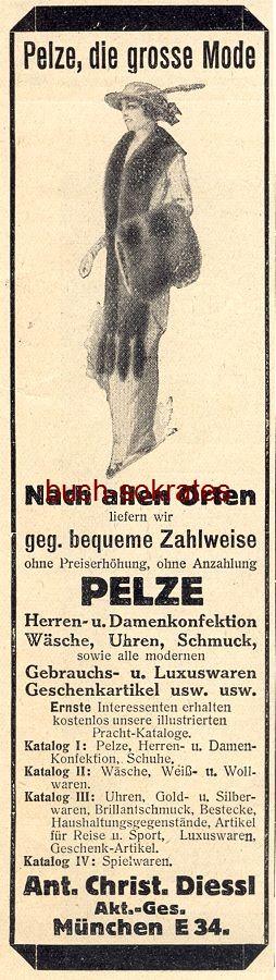 Werbe-Anzeige / Werbung/Reklame Pelze Diessl - Ant. Christ. Diessl AG, München (DW13/47)