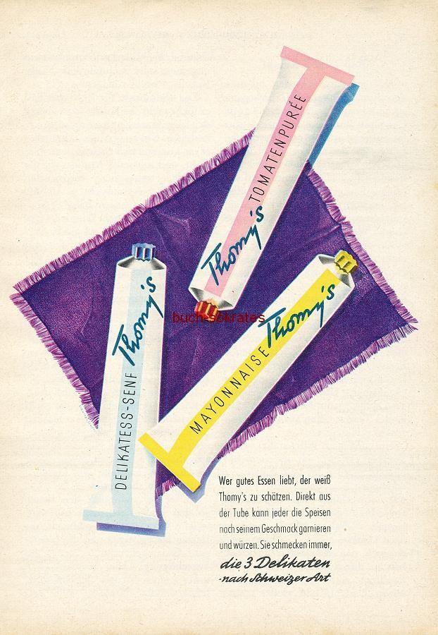 Werbe-Anzeige / Werbung/Reklame Konvolut Annoncen Werbegraphik der 50er Jahre: Thomy s Senf (1958)