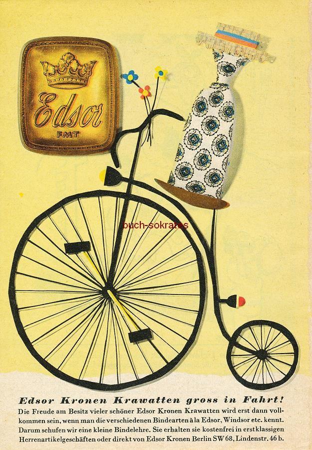 Werbe-Anzeige / Werbung/Reklame Konvolut Annoncen Werbegraphik der 50er Jahre: Edsor Krawatten (1955)