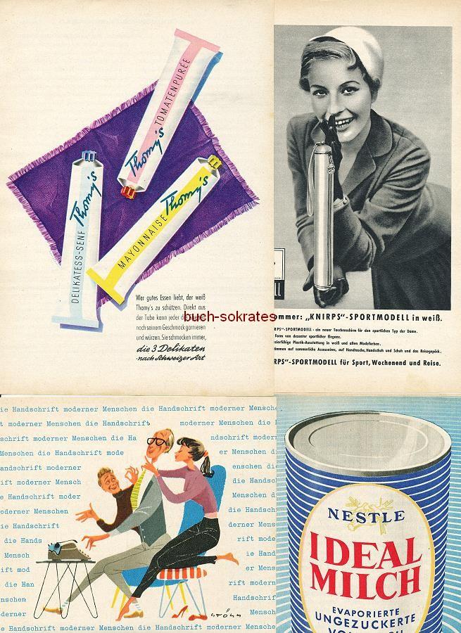 Werbe-Anzeige / Werbung/Reklame Konvolut Annoncen Werbegraphik der 50er Jahre: Edsor Krawatten, Hengella-Wäsche, Desmanol-Deo, Tabac-Seife, Thomy s Senf, Knirps, Triumph Schreibmaschine, Ideal Milch, Dunlop Reifen, Cinzano, Perwoll, Ovomaltine (1954-61)