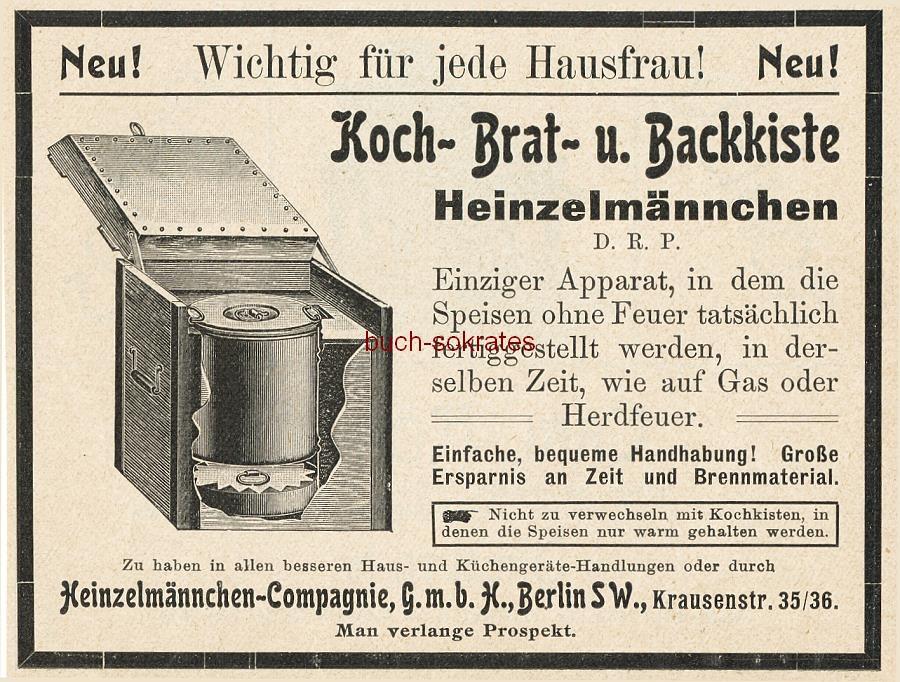 Werbe-Anzeige / Werbung/Reklame Koch- Brat- u. Backkiste Heinzelmännchen - Heinzelmännchen Compagnie GmbH, Berlin, Krausenstr. 35/36 (DK07)