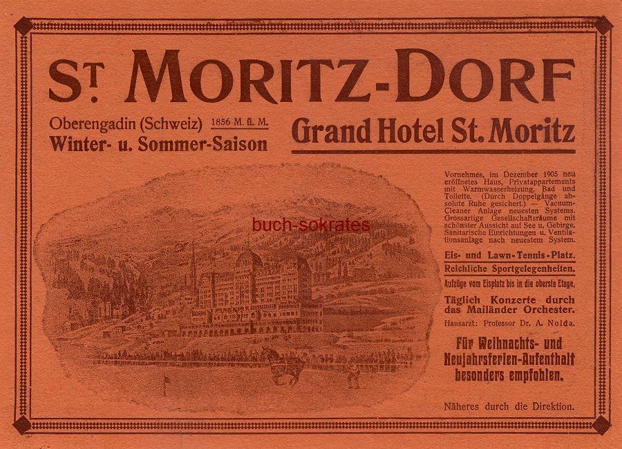 Werbe-Anzeige / Werbung/Reklame Grand Hotel St. Moritz - St. Moritz-Dorf - Oberengadin (Schweiz) (DW08/47)