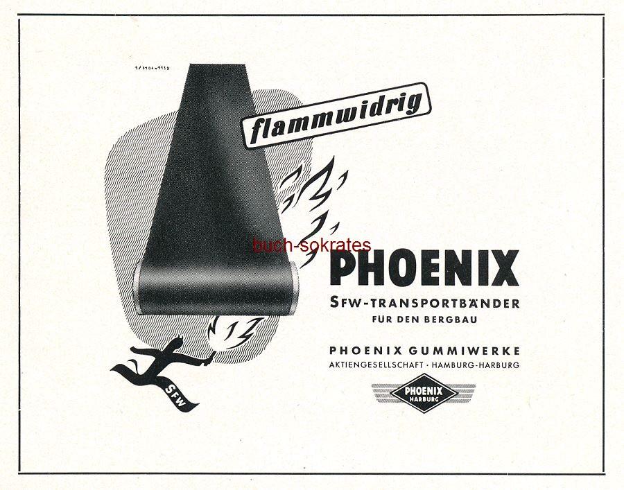 Werbe-Anzeige / Werbung/Reklame Phoenix SFW-Transportbänder für den Bergbau - Phoenix Gummiwerke AG, Hamburg-Harburg (CS52)