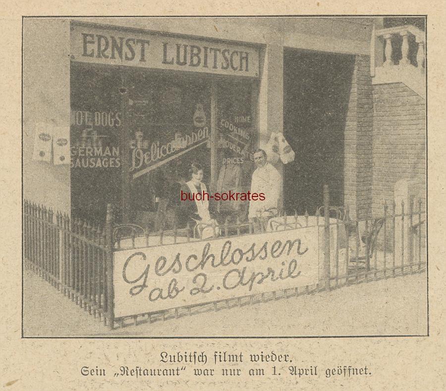Werbe-Anzeige / Werbung / Reklame Aprilscherz: Restaurant Ernst Lubitsch, Hollywood (BI26/15)