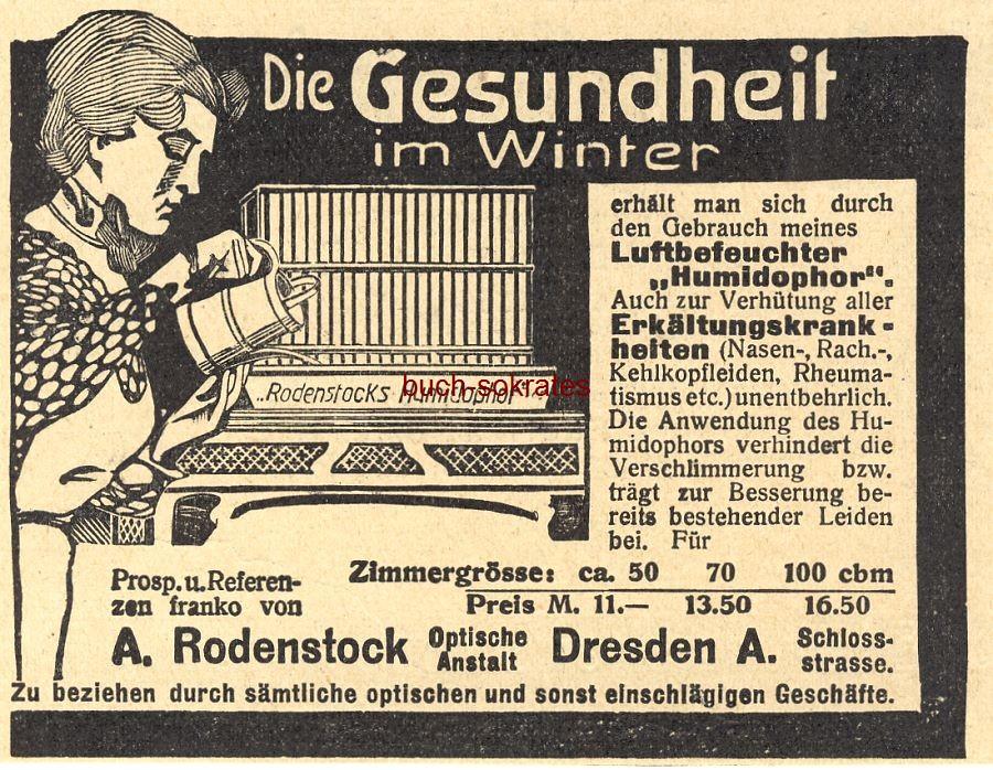Werbe-Anzeige / Werbung/Reklame Luftbefeuchter Humidophor - Optische Anstalt A. Rodenstock, Dresden, Schlossstraße (DW09/02)
