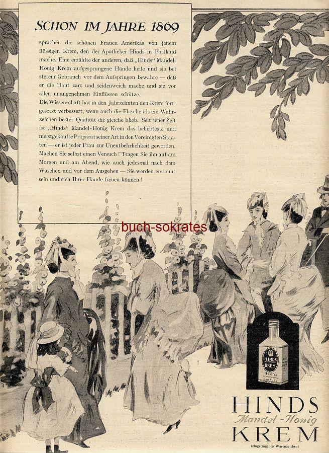 Werbe-Anzeige / Werbung/Reklame Hinds Mandel-Honig Krem - Schon im Jahre 1869… - Hinds AG, Hamburg (BI28/38)