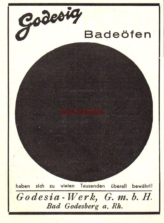 Werbe-Anzeige / Werbung/Reklame Godesia Badeöfen - Godesia-Werk GmbH, Bad Godesberg (BG30/22)
