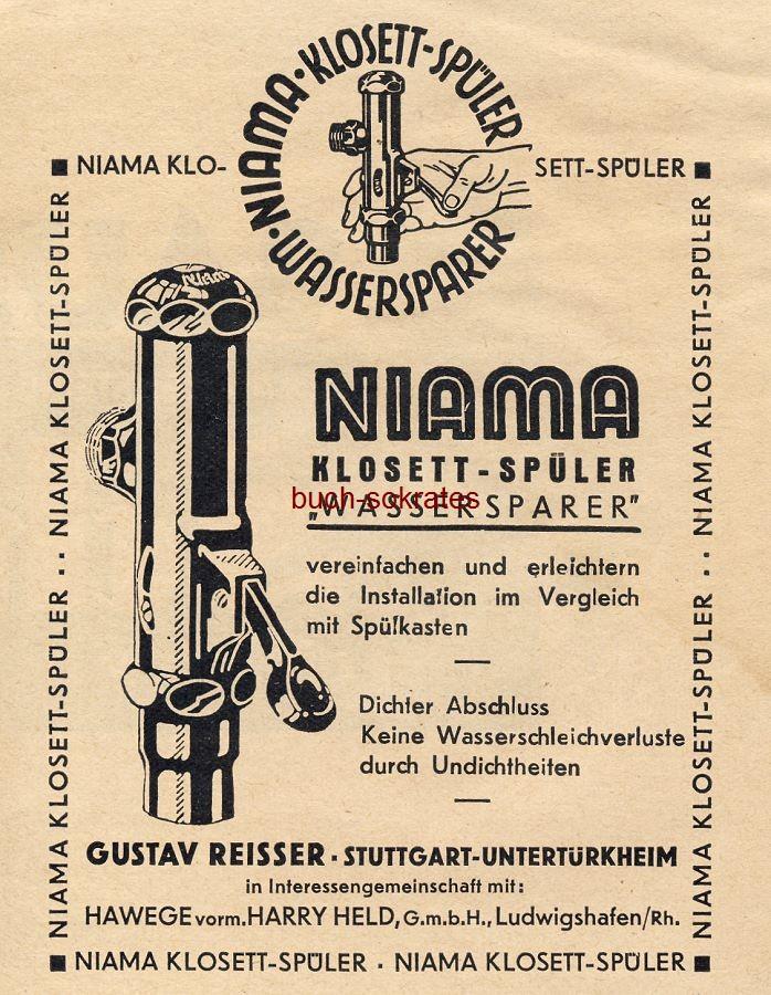 Werbe-Anzeige / Werbung/Reklame Niama Klosett-Spüler Wassersparer - Gustav Reisser, Stuttgart-Untertürkheim (BG30/22)