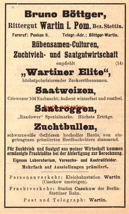 Werbe-Anzeige / Werbung/Reklame Rübensamen-Culturen Wartiner Elite - Bruno Böttger, Rittergut Wartin i. Pom. (HK09)
