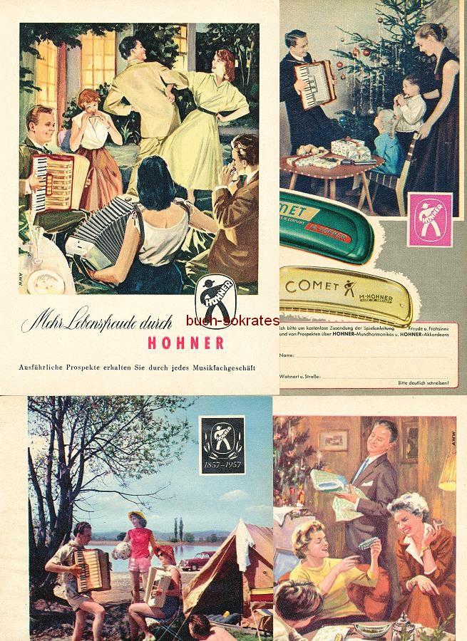 Werbe-Anzeige / Werbung/Reklame Konvolut Hohner Musikinstrumente / Mundharmonikas - Lebensfreude durch Hohner (RD5457)