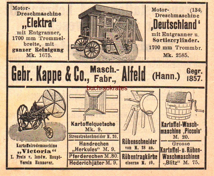 Werbe-Anzeige / Werbung/Reklame Motor-Dreschmaschine Elektra / Deutschland - Maschinenfabrik Gebr. Kappe & Co., Alfeld (Hann.), gegr. 1857 (HK09)