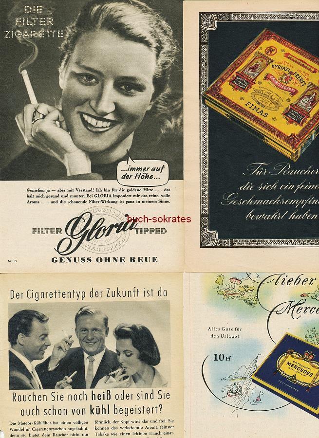 Werbe-Anzeige / Werbung/Reklame Zigaretten: Gloria, Meteor Kühlfilter, Kyriazi Freres, Nil, Mercedes, Astor, Texas, Neuhaus Zigarren La Paloma Selecta (RD4958)