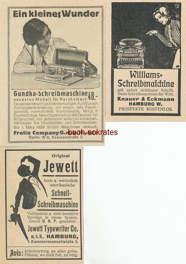 Werbe-Anzeige / Werbung/Reklame 3 x Schreibmaschine: Grundka - Folio Company GmbH, Berlin, Krausenstraße 2 / Williams, Knauer & Eckmann, Hamburg / Jewett - Jewett Typewriter Co. mbH, Hamburg, Kammermannstwiete 3 (BG26/18/DW02/38/39)