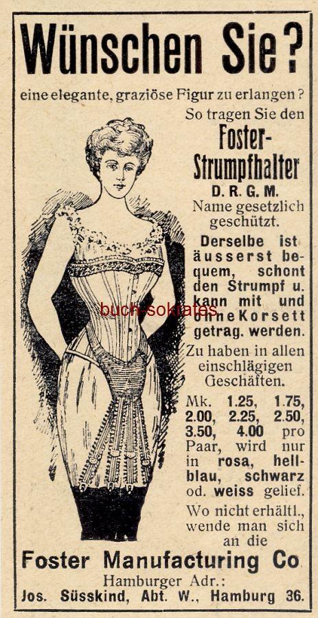 Werbe-Anzeige / Werbung/Reklame Foster-Strumpfhalter - Foster Manufacturing Co, Hamburg (DW08/46)