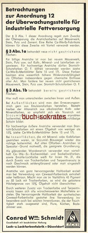 Werbe-Anzeige / Werbung/Reklame Schmidt Lack und Lackfarben - Lack- u. Lackfarbenfabrik Conrad W. Schmidt GmbH, Düsseldorf (BG36/7)