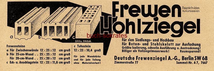 Werbe-Anzeige / Werbung/Reklame Frewen Hohlziegel - Deutsche Frewenziegel AG, Berlin, Zimmerstraße 77 (BG34/20)