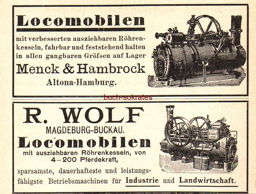 Werbe-Anzeige / Werbung/Reklame Locomobilen Menck & Hambrock, Altona-Hamburg und Locomobilen R. Wolf, Magdeburg-Buckau (DK97)