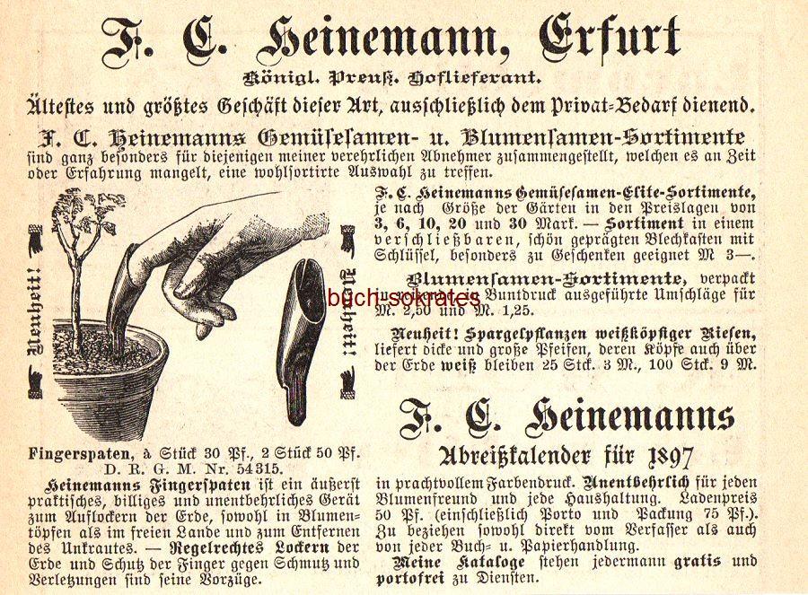 Werbe-Anzeige / Werbung/Reklame Fingerspaten / Gemüsesamen- u. Blumensamen-Sortimente - F.C. Heinemann, Erfurt (DK97)