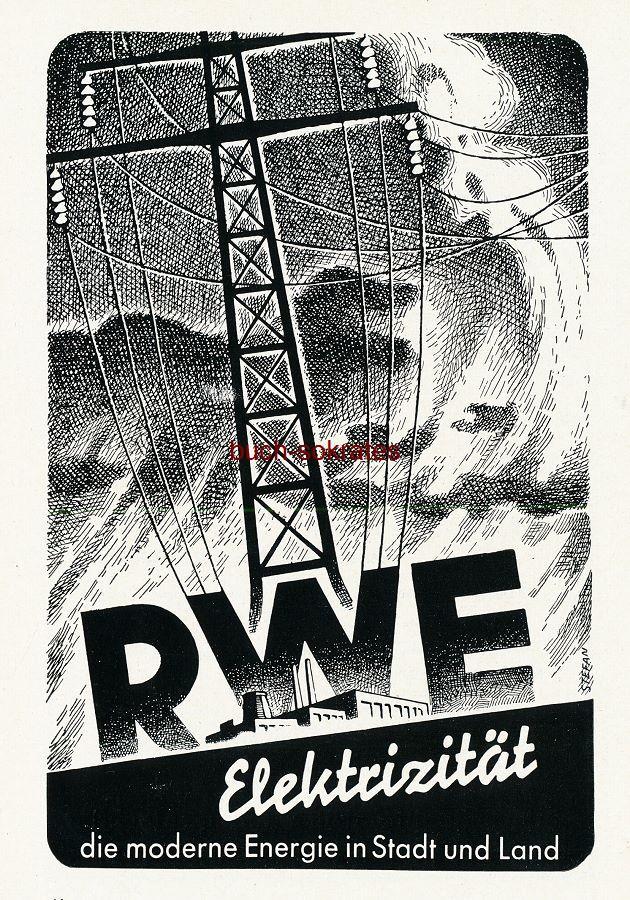 Werbe-Anzeige / Werbung/Reklame RWE Elektrizität - die moderne Energie in Stadt und Land (SZ55)
