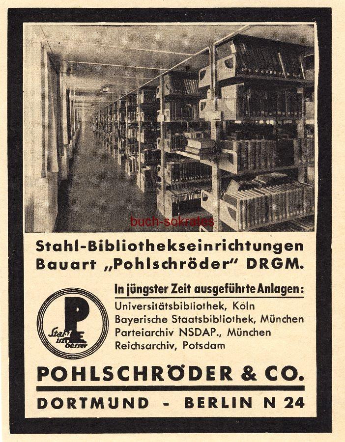 Werbe-Anzeige / Werbung/Reklame Pohlschröder Stahl-Bibliothekseinrichtungen - Pohlschröder & Co., Dortmund (BG36/4)