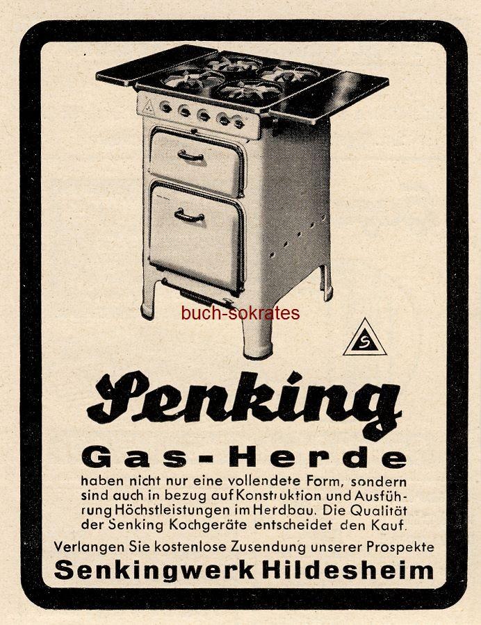 Werbe-Anzeige / Werbung/Reklame Senking Gas-Herde - Senkingwerk Hildesheim (BG36/3)