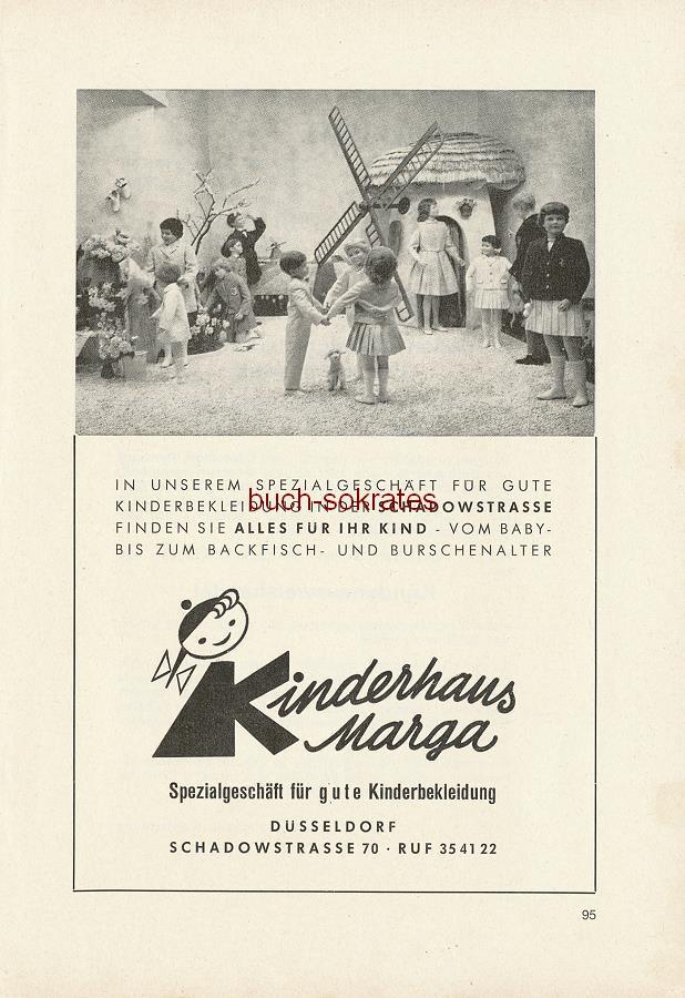 Werbe-Anzeige / Werbung/Reklame Kinderhaus Marga - Spezialgeschäft für gute Kinderbekleidung - Alles für Ihr Kind - vom Baby- bis zum Backfisch- und Burschenalter - Kinderhaus Marga, Düsseldorf, Schadowstraße 70 (SE64)