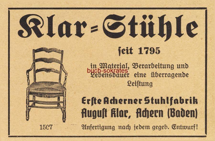 Werbe-Anzeige / Werbung/Reklame Klar-Stühle - Erste Acherner Stuhlfabrik August Klar, Achern (Baden) (BG36/5)