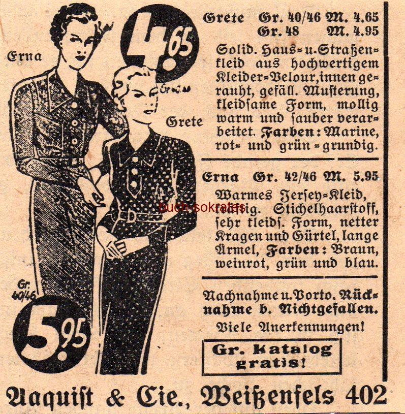Werbe-Anzeige / Werbung/Reklame Aaquist & Cie, Weißenfels -  Haus- und Straßen-Kleid Erna / Jersey-Kleid Grete (SP38)