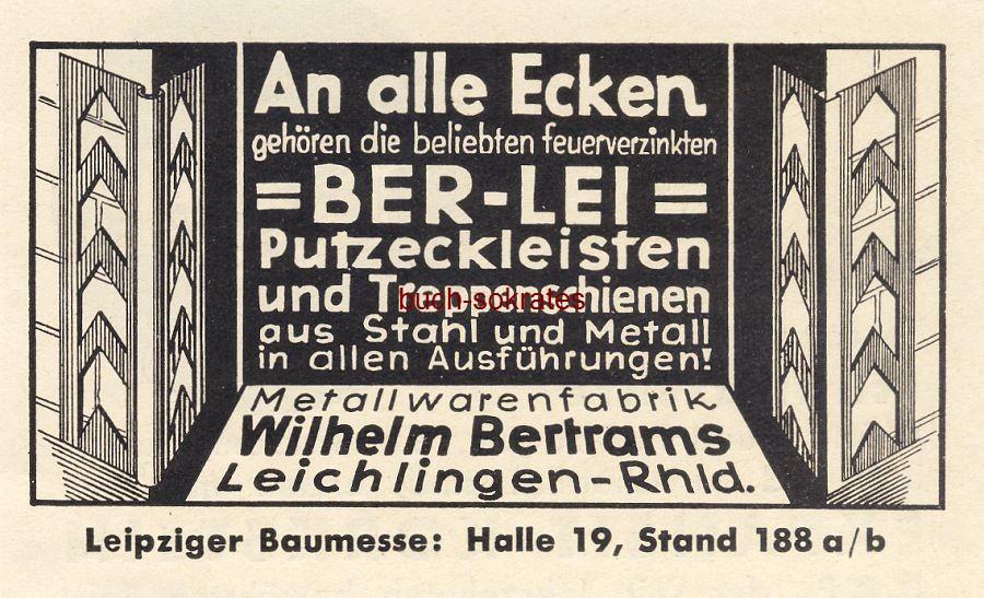 Werbe-Anzeige / Werbung/Reklame Ber-Lei-Putzeckleisten - Metallwarenfabrik Wilhelm Bertrams, Leichlingen (BG36/6)