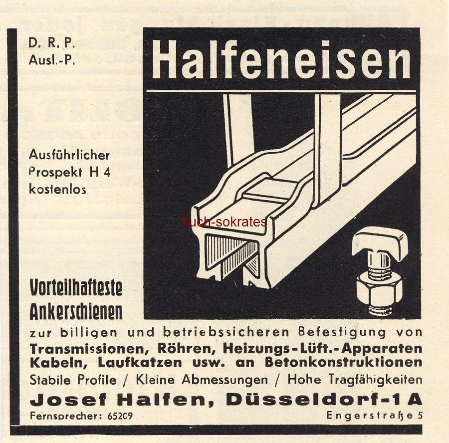 Werbe-Anzeige / Werbung/Reklame Halfeneisen Ankerschienen - Josef Halfen, Düsseldorf (BG36/6)