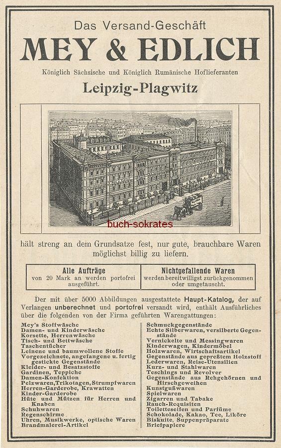 Werbe-Anzeige / Werbung/Reklame Mey & Edlich - Versand-Geschäft, Leipzig-Plagwitz (DK09)