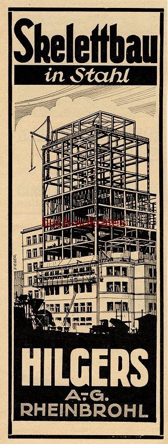 Werbe-Anzeige / Werbung/Reklame Skelettbau in Stahl - Hilgers AG, Rheinbrohl (BG34/20)
