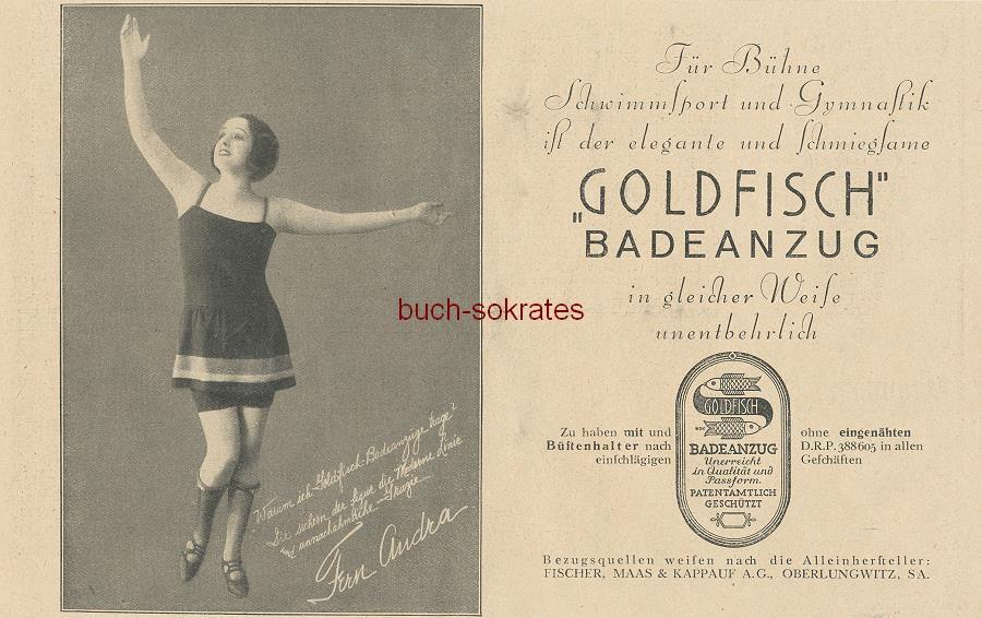 Werbe-Anzeige / Werbung/Reklame Goldfisch Badeanzug - Testimonialwerbung mit der US-Schauspielerin Fern Andra - Fischer, Maas & Kappauf AG, Oberlungwitz, Sachsen (BI26/16)