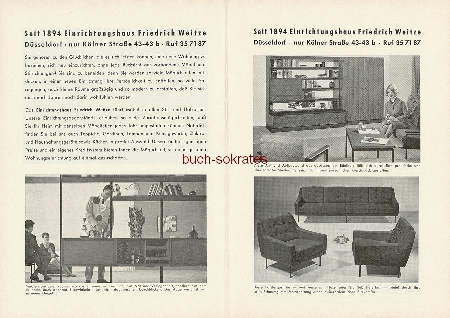 Werbe-Anzeige / Werbung/Reklame Einrichtungshaus Weitze - Anbauwand, Aufbauwand, Polstergarnituren, Schränke, Stilmöbel - Einrichtungshaus Weitze, Düsseldorf, Kölner Straße 43-43b (SE64)