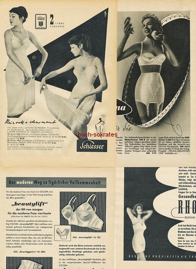Werbe-Anzeige / Werbung/Reklame Damenunterwäsche: Damenstrümpfe, Büstenhalter, Miederware, Gesundheitswäsche - Felina, Schießer, Escora, Rhovyl (RD5457)
