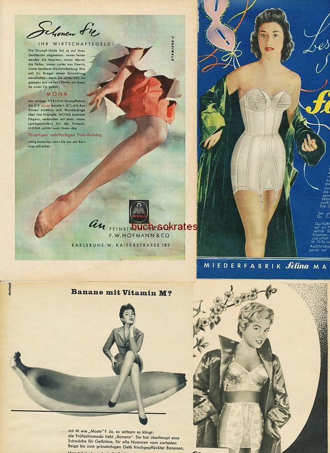 Werbe-Anzeige / Werbung/Reklame Damenunterwäsche: Damenstrümpfe, Büstenhalter, Miederware - Mona, Felina, Tilly (RD5457)