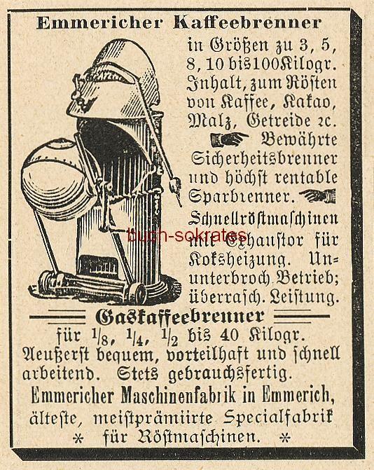 Werbe-Anzeige / Werbung/Reklame Emmericher Kaffeebrenner - zum Rösten von Kaffee, Kakao, Malz, Getreide etc. - Emmericher Maschinenfabrik, Emmerich (DK99)