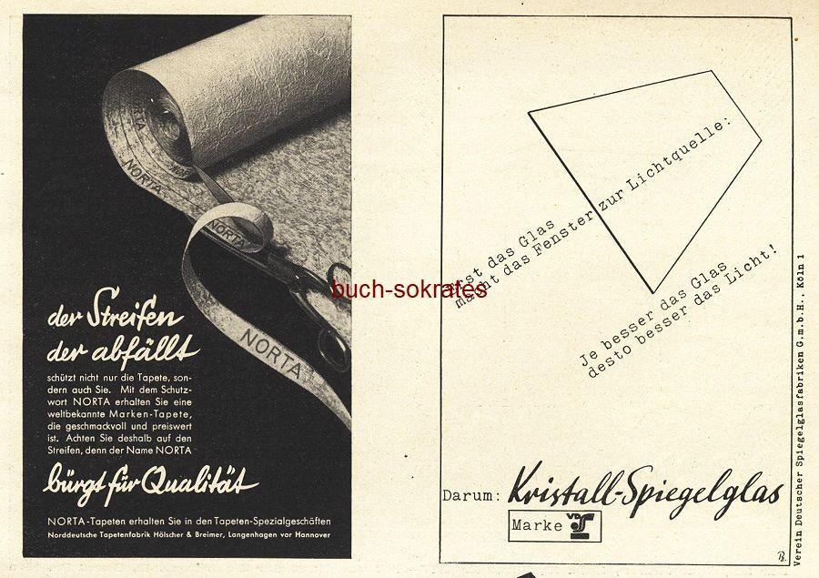 Werbe-Anzeige / Werbung/Reklame Norta-Tapeten und Kristall-Spiegelglas (BG36/7)
