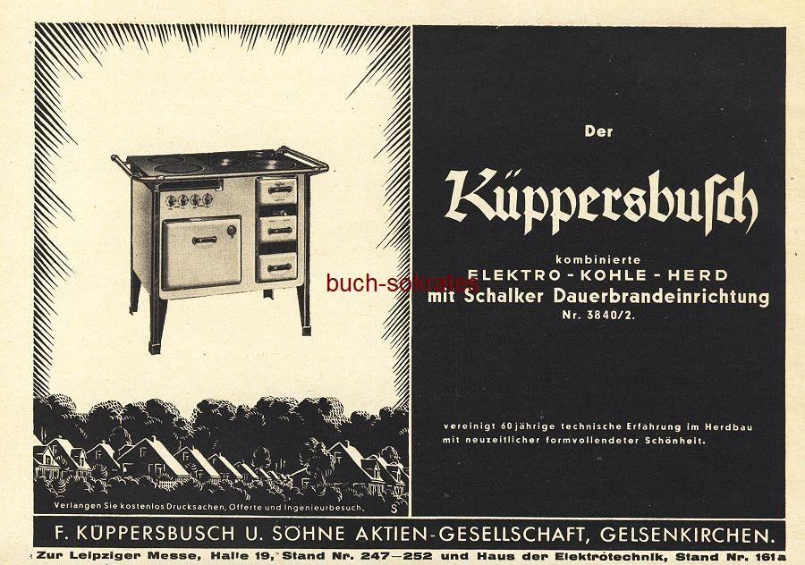Werbe-Anzeige / Werbung/Reklame Küppersbusch Elektro-Kohle-Herd - F. Küppersbusch AG, Gelsenkirchen (BG36/7)