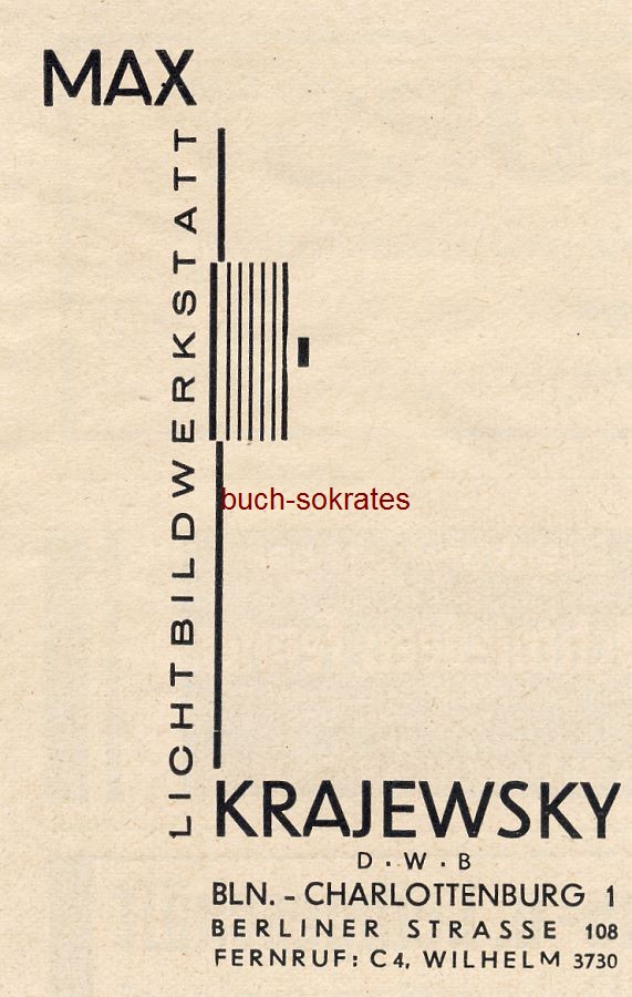 Werbe-Anzeige / Werbung/Reklame Lichtbildwerkstatt Max Krajewsky, Berlin-Charlottenburg 1, Berliner Straße 108 (BG30/22/?/BG32/6)