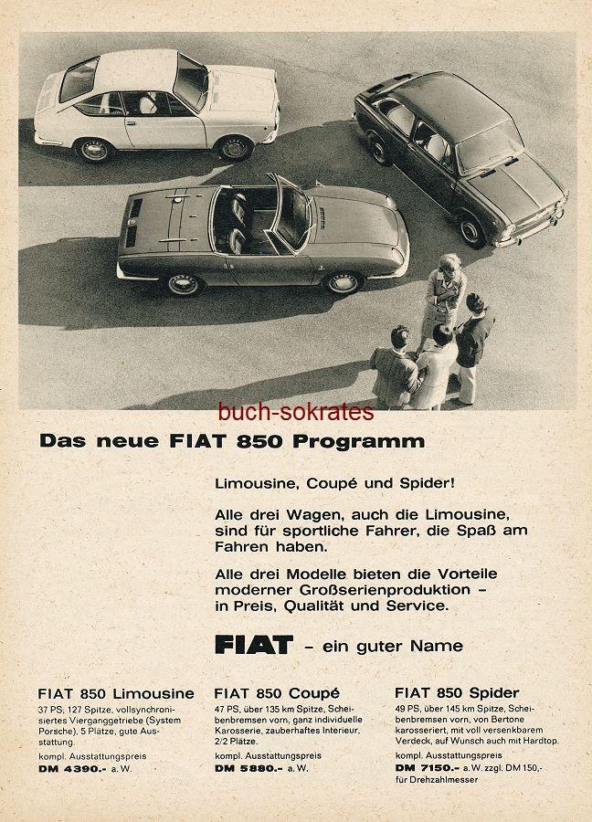 Werbung Anzeige FIAT 850 - verso Fischer-Ski / Josef