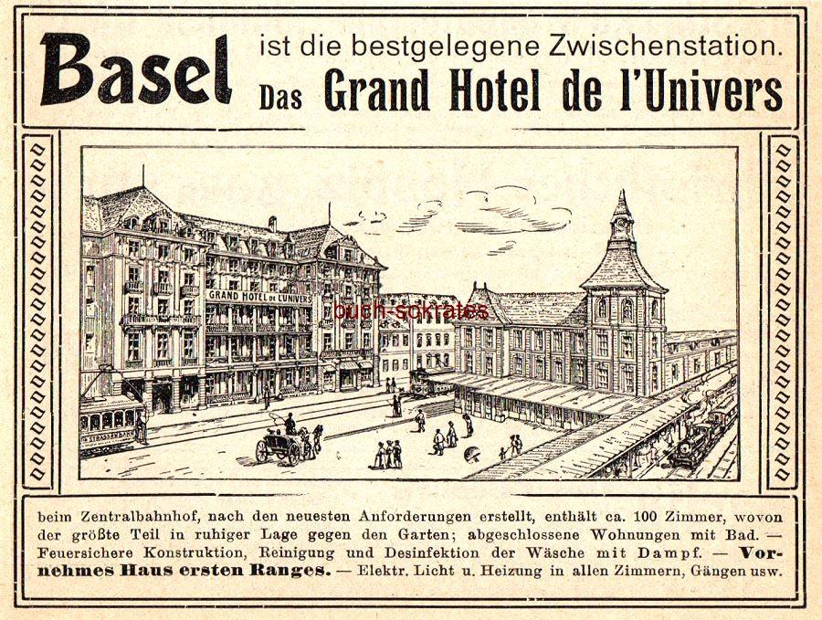 Werbe-Anzeige / Werbung/Reklame Grand Hotel de l Univers, Basel, beim Zentralbahnhof (DK07/DK08)