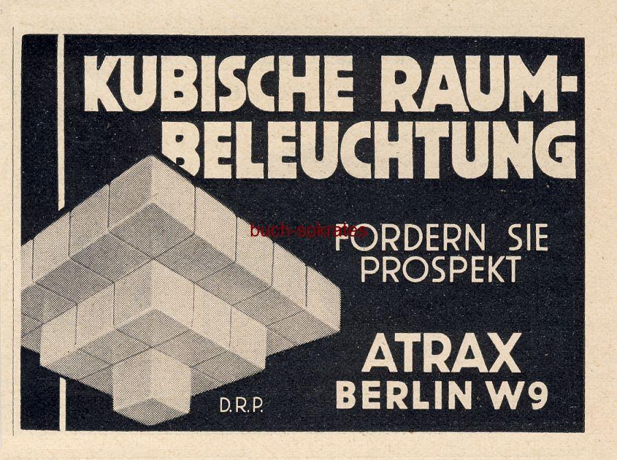 Werbe-Anzeige / Werbung/Reklame Atrax Kubische Raumbeleuchtung - Atrax, Berlin (BG30/22)